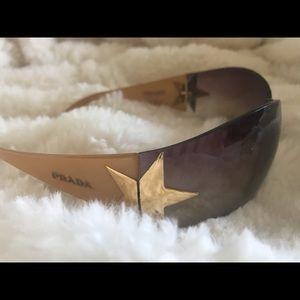 PRADA Sunglasses Gold with Stars